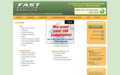 Screenshot of Site Map Page fastevictionservice.com - Fast Eviction Service - captured Sept. 30, 2014