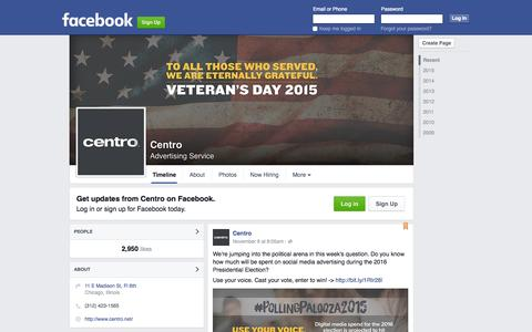 Screenshot of Facebook Page facebook.com - Centro - captured Nov. 11, 2015