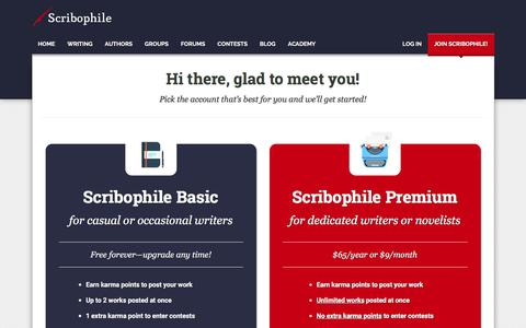 Screenshot of Signup Page scribophile.com - Join our awesome writing community! | Scribophile - captured Sept. 21, 2018
