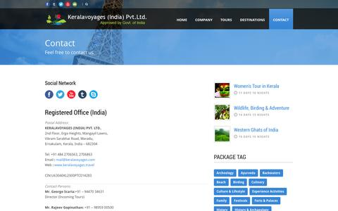 Screenshot of Contact Page keralavoyages.travel - Kerala Voyages India Pvt.Ltd.  Contact details of KeralaVoyages India Pvt.Ltd. - captured Oct. 28, 2014