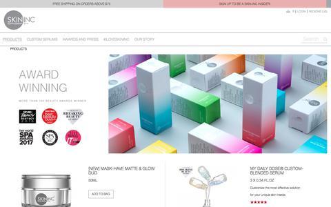 Screenshot of Products Page iloveskininc.com - PRODUCTS  - Skin Inc - Skin Supplement Bar - captured Sept. 22, 2018