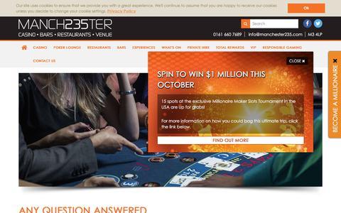 Screenshot of FAQ Page manchester235.com - FAQ's | Manchester235 - captured Oct. 5, 2017