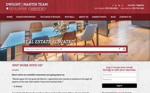 Screenshot of Testimonials Page gotelluride.com - Testimonials-Telluride Real Estate Corp-Dwight | Martin Team - captured Nov. 7, 2017