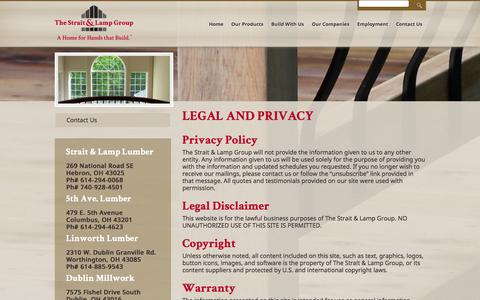 Screenshot of Privacy Page straitandlamp.com - Legal and Privacy - Strait & Lamp Group - captured Feb. 28, 2016