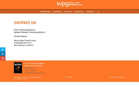 Screenshot of Contact Page svpg.com - contact us | Silicon Valley Product Group - captured July 17, 2017