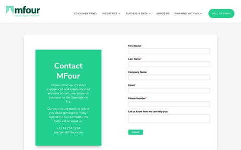 Screenshot of Contact Page mfour.com - Contact Us Regarding Your Mobile Market Research Needs | MFour - captured Dec. 14, 2019