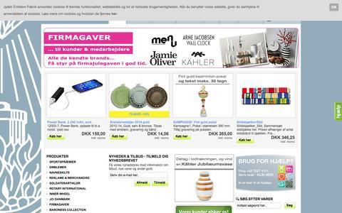 Screenshot of Home Page jef.dk - Jydsk Emblem Fabrik A/S. Sportspræmier & Emblemer - captured Oct. 6, 2014