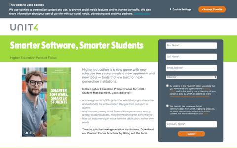 Screenshot of Landing Page unit4.com - Unit4 | Higher Education Product Focus - captured April 19, 2019