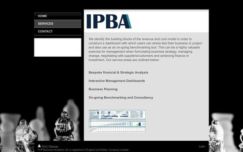 Screenshot of Services Page ip-business-analytics.co.uk - IP Business Analytics - Business, Financial & Strategy Analysis and Simulation - Services - captured Feb. 4, 2016