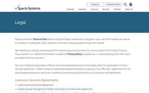 Screenshot of Terms Page spartasystems.com - Legal Notifications | Privacy Policy | Sparta Systems - captured Oct. 18, 2017
