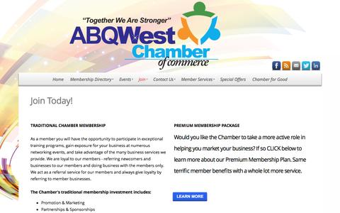 Screenshot of Signup Page abqwest.org - ABQWest Chamber of Commerce - Join - captured Nov. 19, 2016