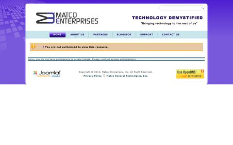 Screenshot of Support Page matco.net - Error creating ticket - captured Nov. 27, 2016