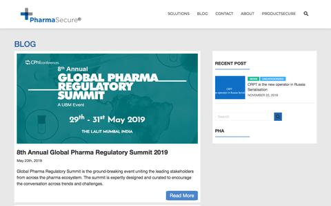 Screenshot of Blog pharmasecure.com - Blog – Anti-Counterfeiting, Identification, and Brand Protection Solutions - captured Sept. 19, 2019