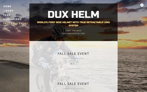 Screenshot of Press Page duxhelm.com - Fall sale event — DUX HELM - captured Oct. 7, 2018