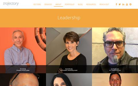Screenshot of Team Page trajectory4brands.com - Leadership - Trajectory - captured May 30, 2019