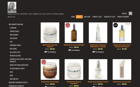 Screenshot of Products Page cleosskincare.com - Products | skin care, Youngblood Makeup, Bioelements, Rejuvenate, Silkpeel, - captured July 18, 2018