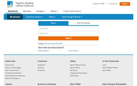 Screenshot of Login Page pge.com - Pacific Gas and Electric Company - captured Dec. 11, 2015