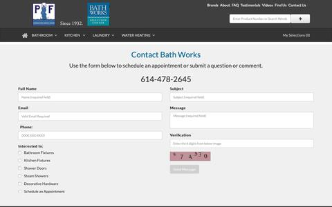 Screenshot of Contact Page bathworks.us - Contact Bath Works - Columbus Ohio - captured Nov. 6, 2018
