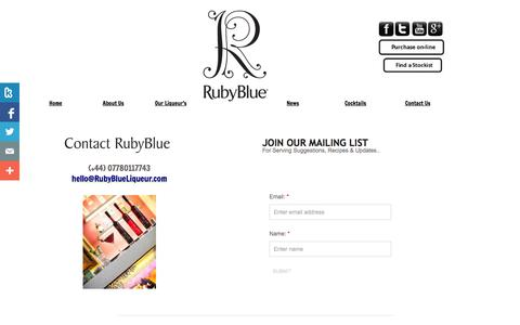 Screenshot of Privacy Page Contact Page rubyblueliqueur.com - Contact Us - captured Oct. 25, 2014
