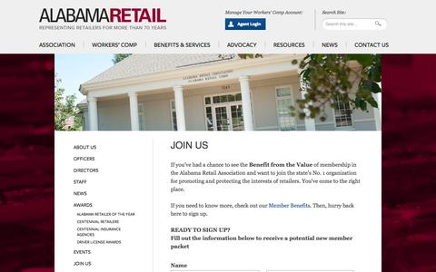 Screenshot of Signup Page alabamaretail.org - Join Us   Alabama Retail Association - captured Oct. 4, 2014