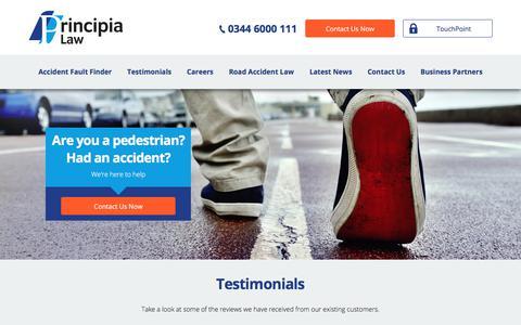 Screenshot of Testimonials Page principia-law.co.uk - Testimonials & Reviews || Principia Law - captured July 22, 2018