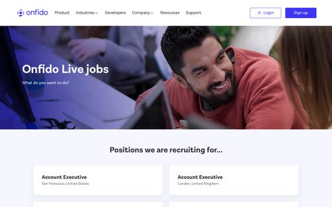 Screenshot of Jobs Page onfido.com - Job Openings - London, NYC, SF | ONFIDO - captured Feb. 15, 2019