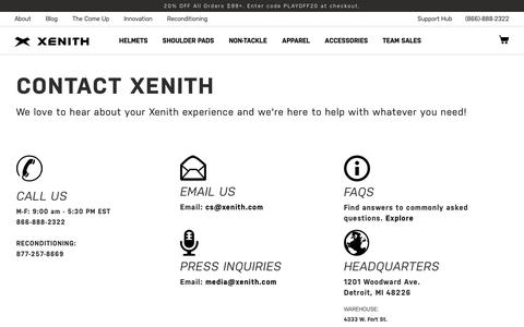 Screenshot of Contact Page xenith.com - Contact Us | Xenith - captured Nov. 15, 2019