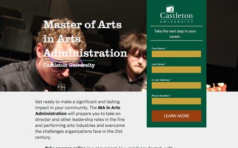 Screenshot of Landing Page castleton.edu - Castleton University | MA in Arts Administration - captured July 26, 2016