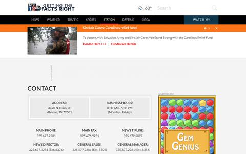 Screenshot of Contact Page ktxs.com - Abilene Contact | News, Weather, Sports, Breaking News | KTXS - captured Sept. 22, 2018