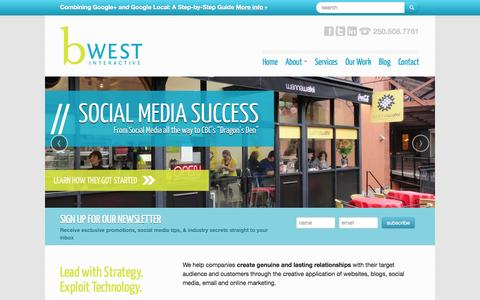 Screenshot of Home Page Menu Page bwest.ca - BWEST Interactive - Social Media Marketing & Web Design in Victoria BC - captured Oct. 5, 2014