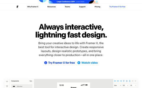 Screenshot of Home Page framerjs.com - Framer -         Interactive Design Tool - captured July 12, 2019