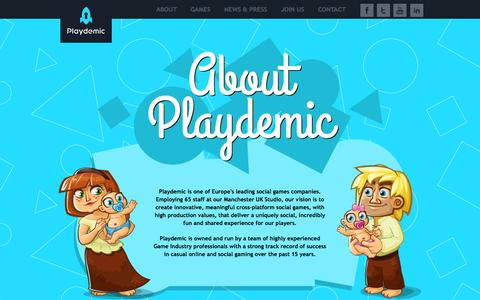 Screenshot of About Page playdemic.com - Playdemic | About - captured Sept. 12, 2014