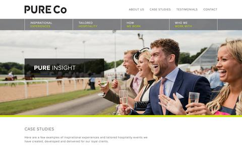 Screenshot of Case Studies Page pure-co.co.uk - PURE Co Events Management - Corporate Hospitality Case Studies - captured Dec. 8, 2018