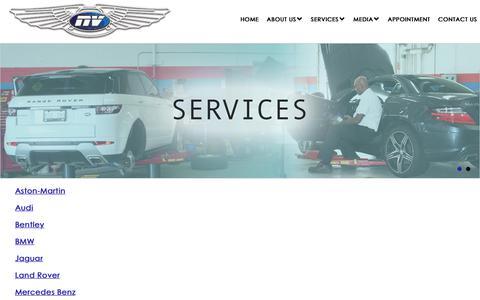 Screenshot of Services Page nveuromotor.com - Luxury Car Services - NV EURO MOTOR WORKS - captured Nov. 7, 2018