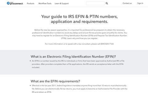 Screenshot of intuit.com - EFIN & PTIN Application: Registration & Requirements | Intuit - captured April 24, 2018