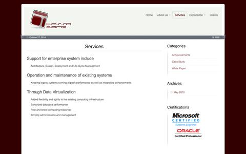 Screenshot of Services Page tassacorp.com - Services - Tassa Corp - captured Oct. 27, 2014