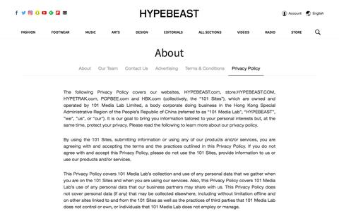 Privacy Policy | HYPEBEAST