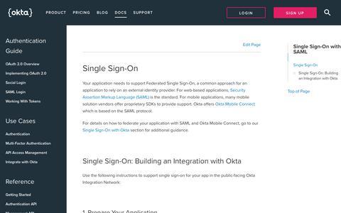 Single Sign-On with SAML   Okta Developer