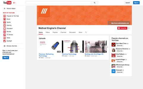 Screenshot of YouTube Page youtube.com - Method Engine's Channel  - YouTube - captured Oct. 29, 2014