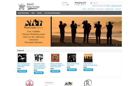Screenshot of Products Page rumleymusic.com - RMAP Web Store - captured Oct. 9, 2014