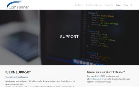 Screenshot of Support Page compartner.com - Fjernsupport - ComPartner - Totalleverandør av data og telecom - captured Nov. 10, 2018