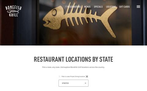Screenshot of Locations Page bonefishgrill.com - Bonefish Grill Locations Directory - captured July 29, 2016