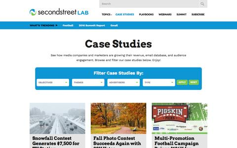 Screenshot of Case Studies Page secondstreet.com - Case Studies | Second Street Lab - captured Oct. 7, 2016