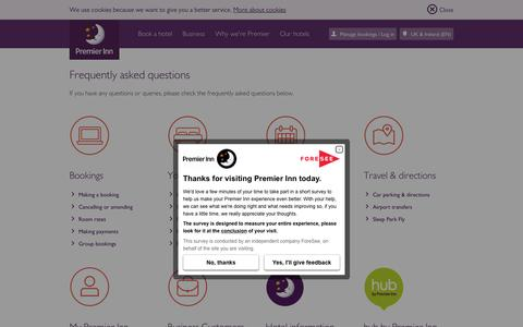 Screenshot of FAQ Page premierinn.com - Frequently Asked Questions | Premier Inn - captured May 21, 2017