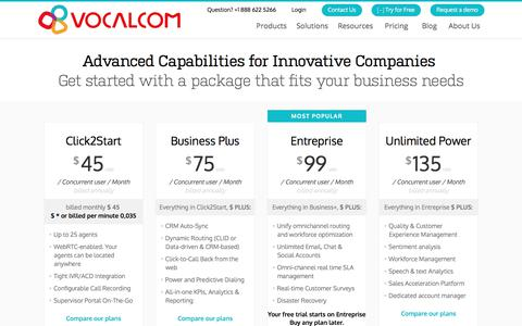 Screenshot of Pricing Page vocalcom.com - Contact Center Software Solutions Pricing | Vocalcom - captured Sept. 19, 2018