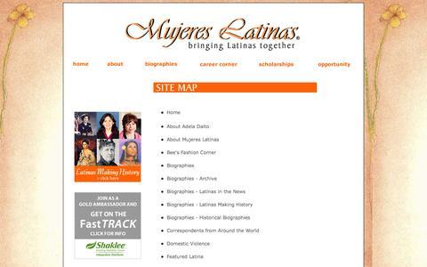 Screenshot of Site Map Page mujereslatinas.com - Mujeres Latinas - Site Map - captured Oct. 7, 2014