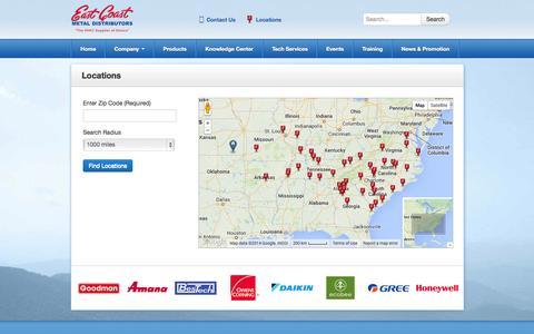 Screenshot of Locations Page ecmdi.com - Locations - captured Oct. 1, 2014