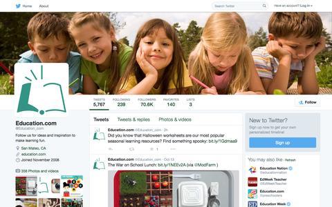 Screenshot of Twitter Page twitter.com - Education.com (@Education_com) | Twitter - captured Oct. 14, 2015