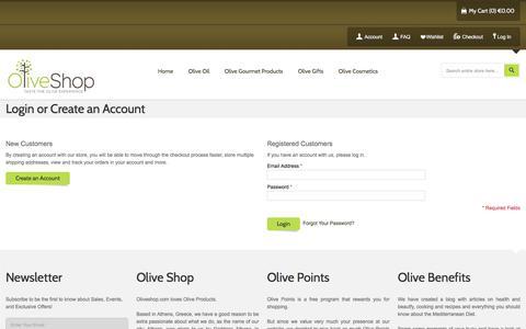 Screenshot of Login Page oliveshop.com - Customer Login - captured Oct. 26, 2017