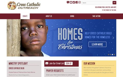 Screenshot of Home Page crosscatholic.org - Cross Catholic Outreach - captured Dec. 16, 2018